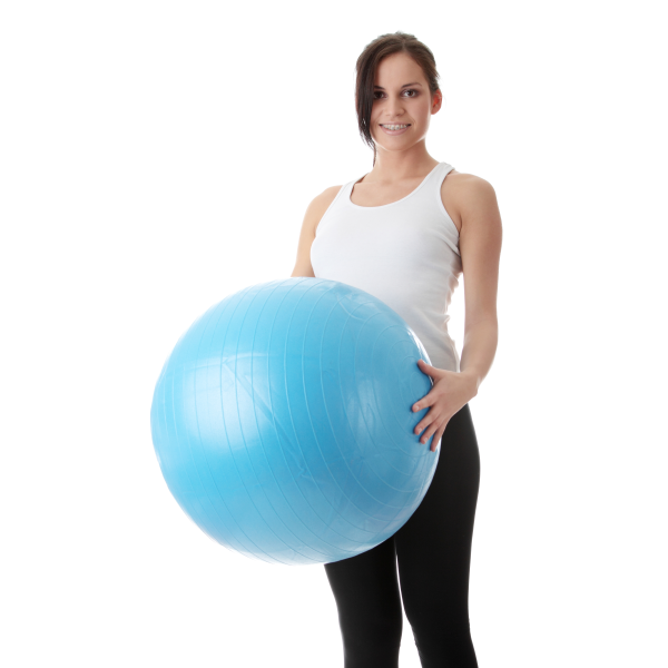exercise ball, stability ball as a chair