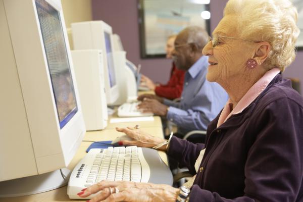 senior woman at computer