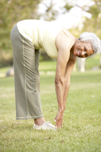 senior woman stretching