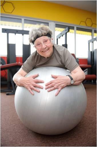 senior woman on ball