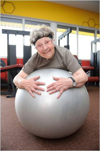 senior woman on ball