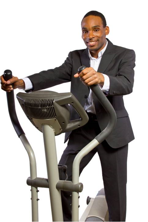 Business man on elliptical