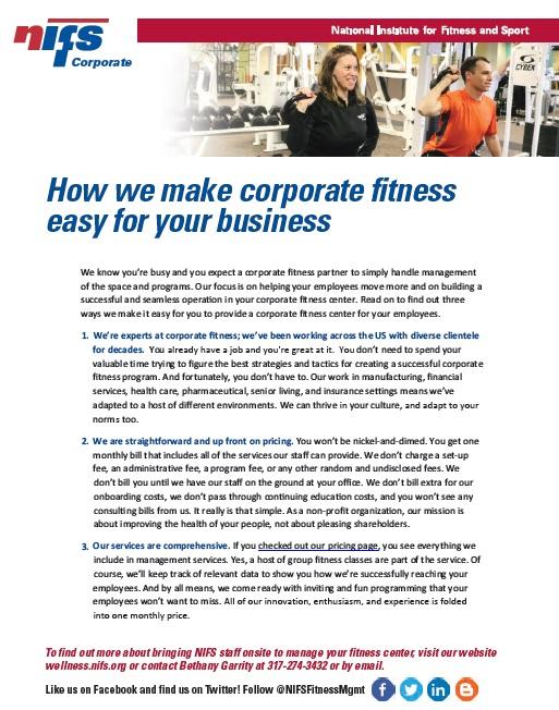 NIFS | Corporate Fitness