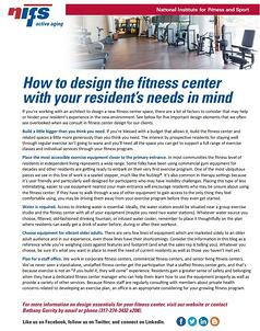 NIFS | Design your fitness center with residents needs