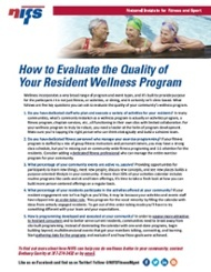 NIFS | Evaluate the quality of your wellness program